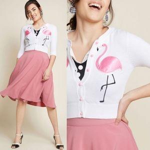Modcloth Collectif Pink Flamingos Cardigan NEW